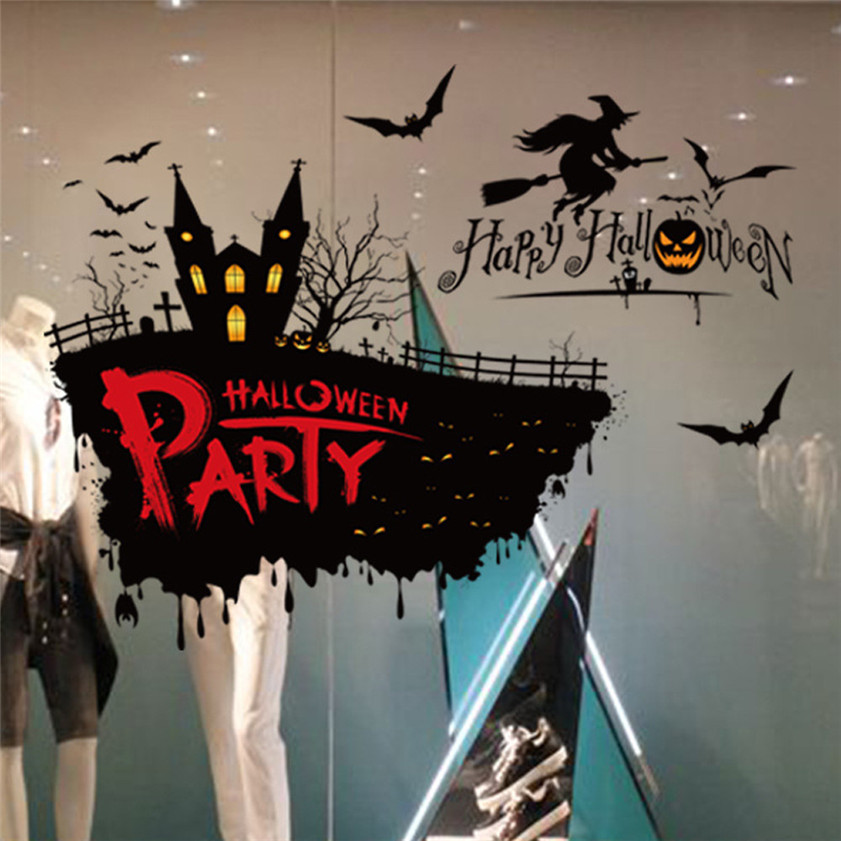 Wallpaper Sticker PVC Festival Decor Halloween Witch Pumpkin Wall Sticker Party Home Decor Stencil Wallpapers For Living Room B#
