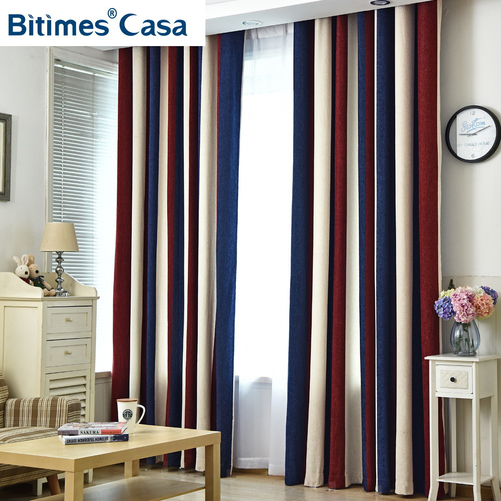 Color Splicing Blackout Window Curtain Chenille Materail For Living Room Bedroom Curtain High Shading Elegant Home Decoration