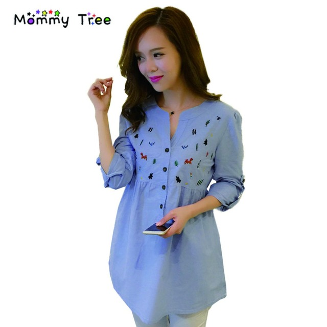 7024b0a8ec699 2017 ربيع جديد الأمومة القمم بلوزات بأكمام طويلة الأزرق قميص بلوزة الحوامل  مريح عارضة الملابس لل
