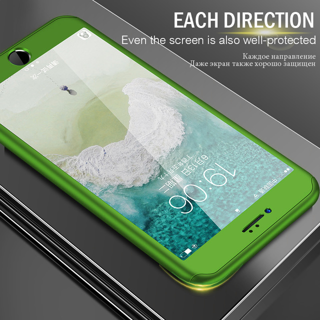Luxury 360 Full Protection Case For iPhone 6 6s 7 8 Plus X Hard PC Phone Cases For iPhone X 8 7 6 Plus 10 Cover Case With Glass