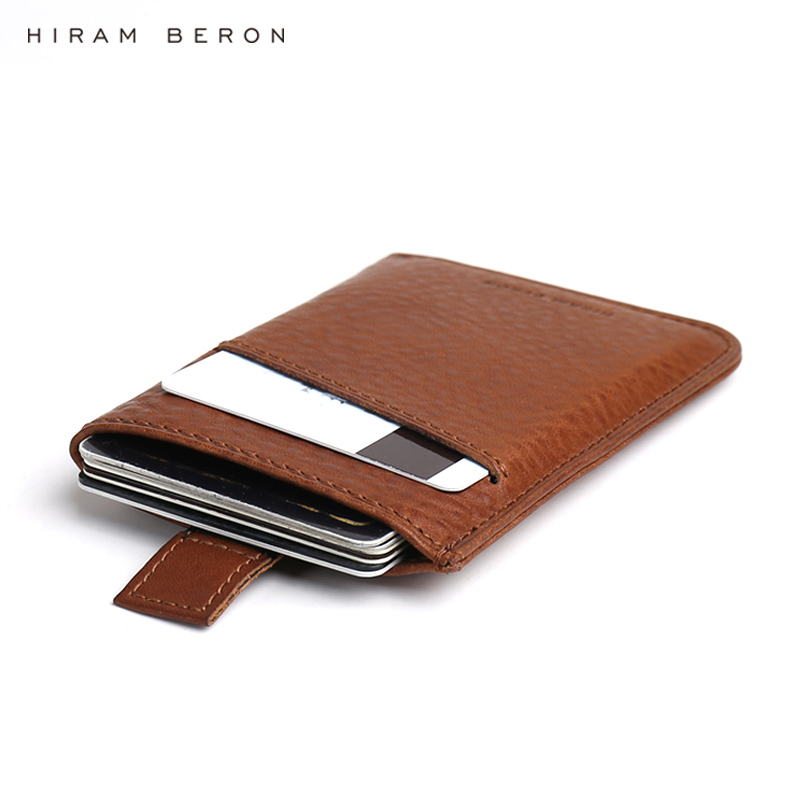Hiram Beron Custom Name Service Men Wallet Leather Thin Wallet Rfid Card Protection Italian Leather Minimalist Wallet Dropship