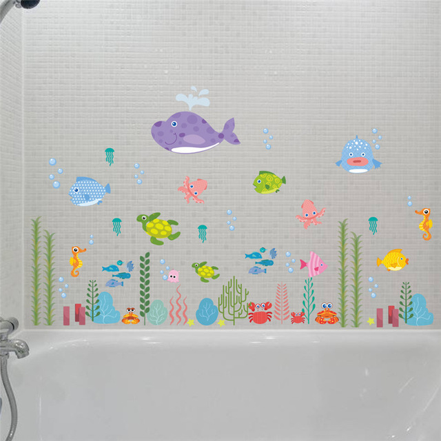 % Underwater Seabed Fish Bubble Starfish Star NEMO Wall Sticker Cartoon Wall Decals Bathroom Decor Nursery Kids Room Poster Mura
