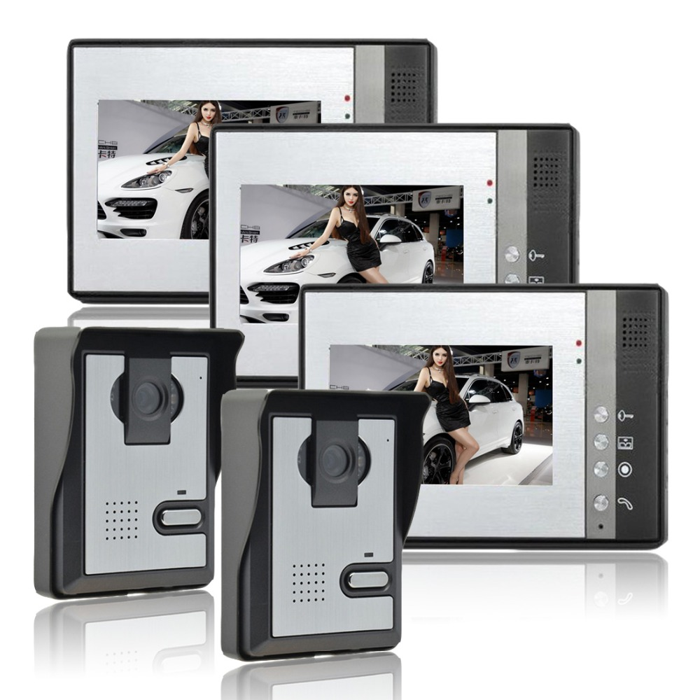 Wired 7 Inch LCD Color Video Door Phone HD Camera Home Security Building Intercom Equipment 4