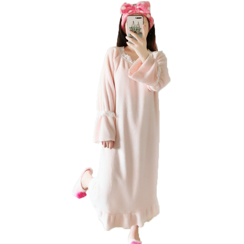 Autumn Winter Woman Soft Nightgowns Pink Loose Comfort Sleepshirts ...