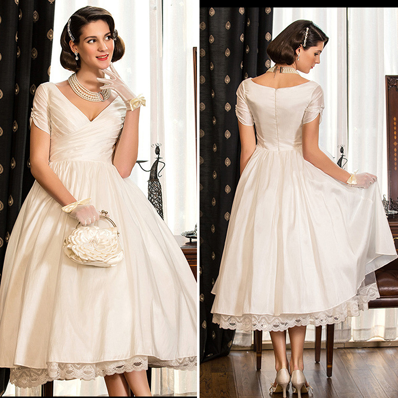Simple Vintage Short Wedding Dresses 2016 V Neck Short