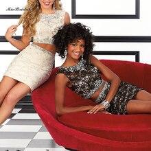Western gewand de cocktail dentelle moderne spitze und satin zwei Stück cocktail jurken 2016 kurze Teenager partei kleider