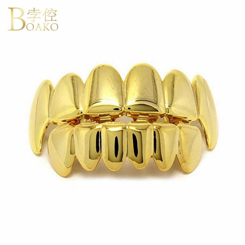 BOAKO Hip Hop Gold Teeth Grillz Set Top & Bottom Grills Dental Mouth Punk Style Teeth Caps Cosplay Party Men Rapper Jewelry K3 image