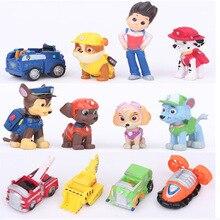 12 unids/set Patrulla Patrulla Coche Cachorro PVC Figura de Acción DEL PVC modelo de juguete Minifigures Juguete Perro Patrulla Canina Modelo de regalo de Navidad