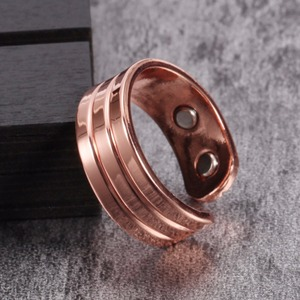 Vinterly Pure Copper Magnetic Ring for Women Trendy Engagement Wedding Rings for Women Men Open Cuff Adjustable Finger Ring Men(China)