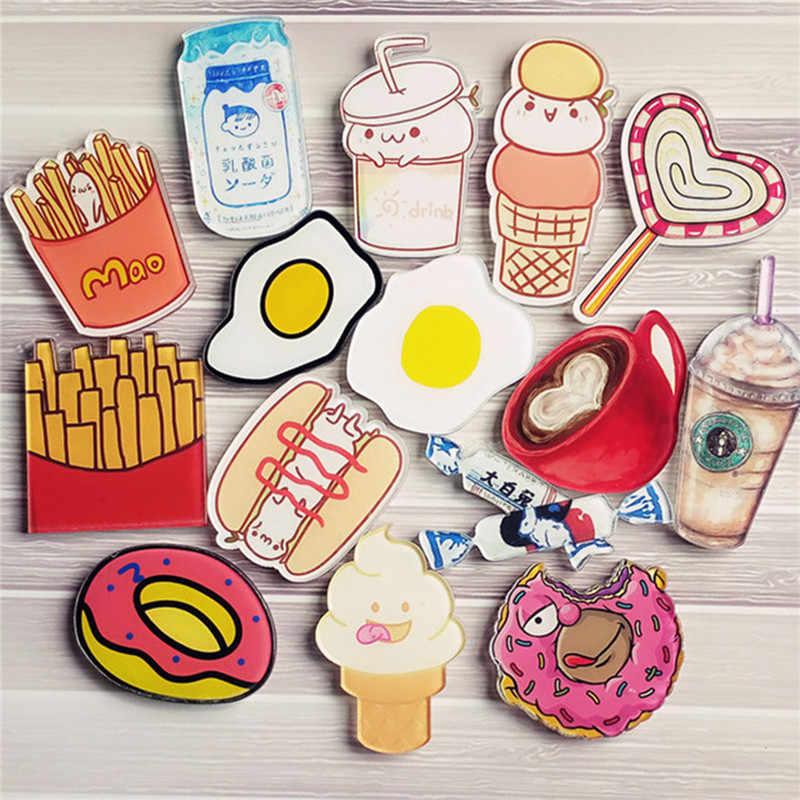 1 Pcs Lucu Kartun Donuts Kopi Lencana untuk Ransel Akrilik Lencana Pakaian Ikon Ransel Jarum Bros Lencana Dekorasi