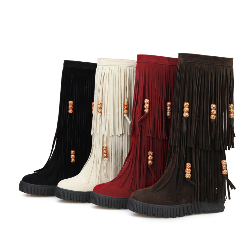 New 2015 Winter Fashion Mid Calf Women Tassel Fringe Boots Black Red Brown Sexy Lady Wedge Shoes AY906-2 Plus Big Size 10 44 mid calf women boots black white brown big size 34 43 new winter mid calf women boots black white brown for choice flats shoes