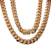 Hip Hop 15mm Men Cuban Miami Chain Necklace Gold Tone Stainless Steel Rhinestone Clasp Iced Out