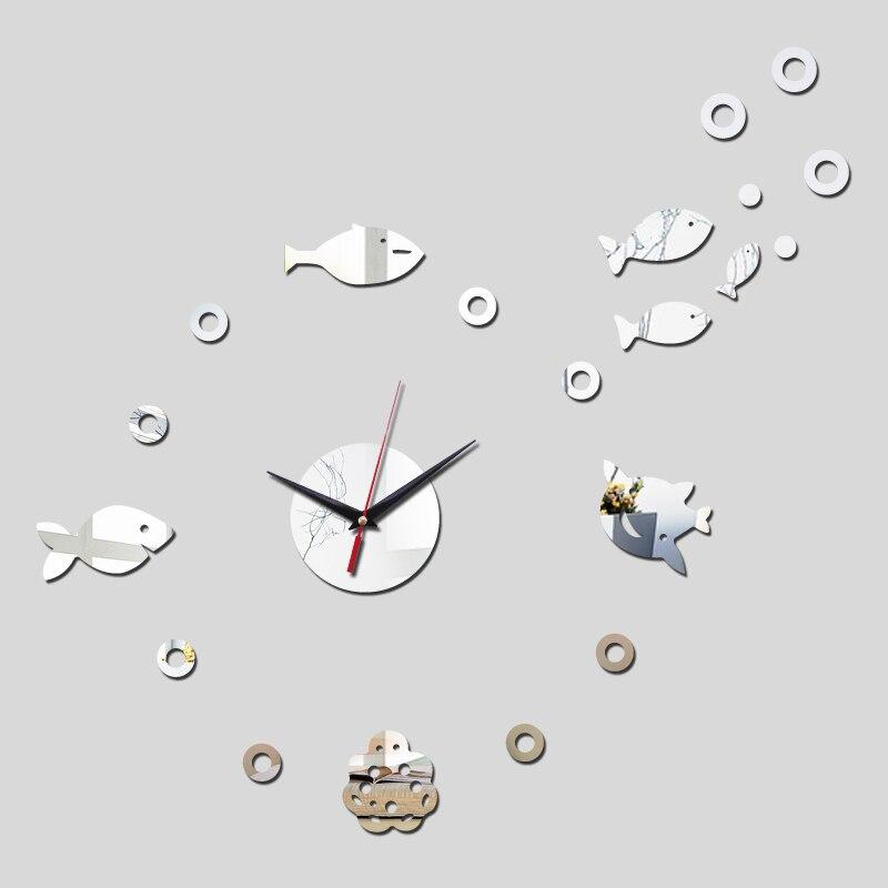 Decoração acrílico 3d espelho adesivos de parede peixe diy Digital de quartzo relógio relógios de sala de estar
