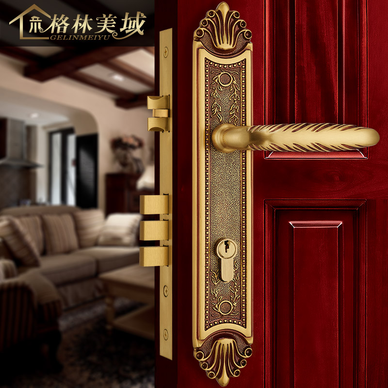 European-style villa antique handle solid wood door door lock bedroom full copper American interior door lock