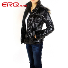 ERQ 2017 winter duck down jacket ladies lengthy coat parkas thickening Female Warm Clothes Rabbit fur collar High Quality 11589