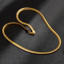 GENBOLI Gold Silver Color Fashion Snake Chain Necklace Length 50 55mm Width 5mm Wedding Jewelry Accessories