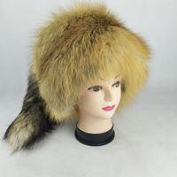 51662 New Fashion Fox Fur Hat Ladies Winter Hat thickening Warm ears Mongolia hats fur ethnic cap Bomber Hat