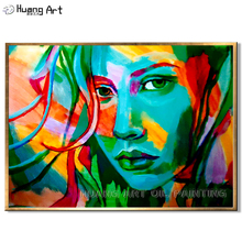 High Skill Artist Hand-painted Modern Beaut Women Portrait Oil Painting on Canvas Colorful Figure for Room Wall Decor