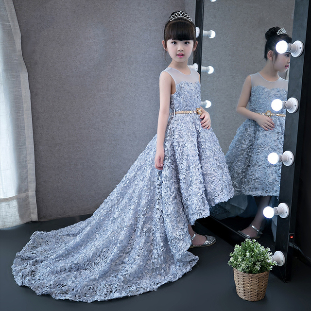 2339f24df383f Grey feather dress childevening kid flower girl gown in wedding fairy formal  party dress with long tail show performance costume