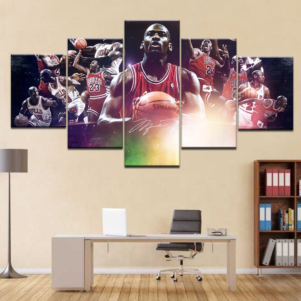basketball Star Michael <font><b>Jordan</b></font> HD Canvas Painting <font><b>5</b></font> Panel Picture Wall Art Poster for Living Room Home Decoration Frame Artwork image