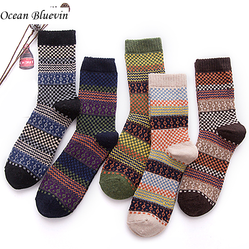 Ocean Bluevin New Mens Socks Autumn Winter Retro Geometric Patterns Thickening Warm Knitted Rabbit Wool Material High-grade Sock