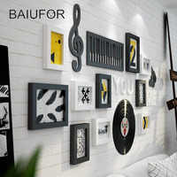 BAIUFOR Creative Music Black Photo Frame Set,Wooden Collage Picture Frame for Painting,Wall Hanging Frame Home Art Decor