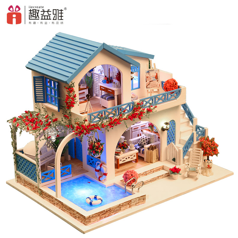 iiE CREATE 3D Doll's House Wooden DIY Miniatura Doll Houses Furniture Kit DIY Puzzle Assemble Dollhouse Toys Birthday Gifts цены