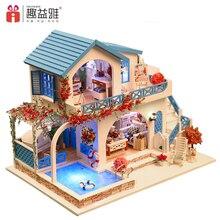 2E ליצור 3D בית של דול עץ DIY Miniatura בובות בתים ערכת ריהוט DIY פאזל להרכיב צעצועים Dollhouse יום הולדת מתנות