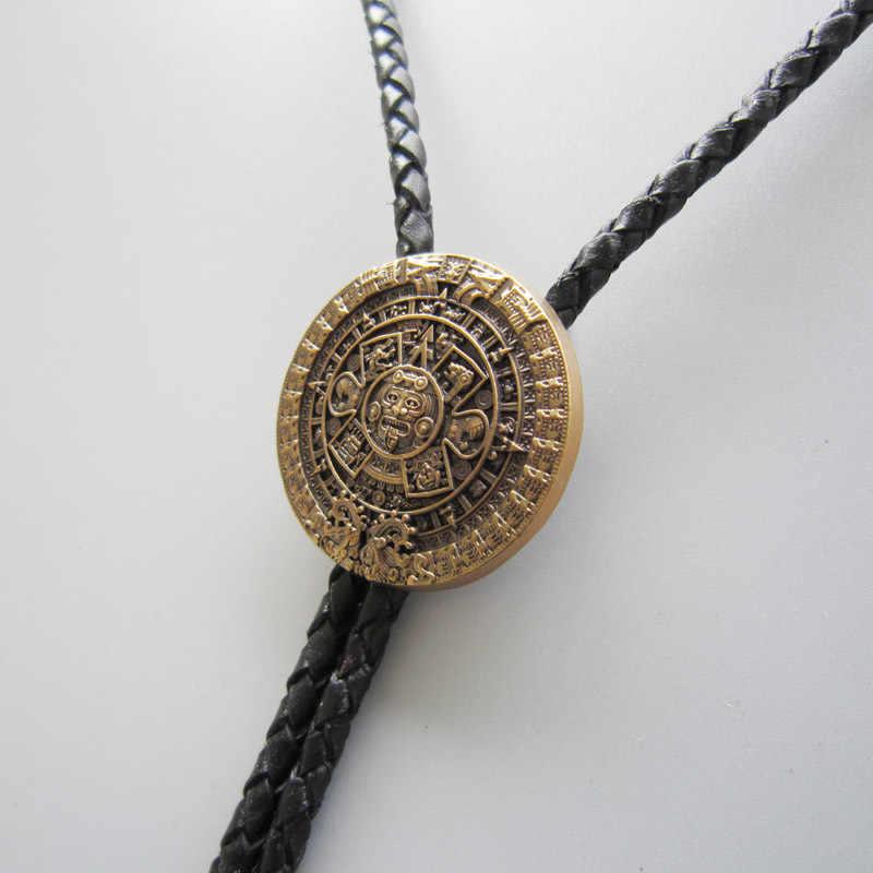 Розничная продажа оригинальное покрытие состаренное золото классический ацтекский календарь скульптурный Галстук боло ожерелье BOLOTIE-WT126AG в наличии БЕСПЛАТНАЯ ДОСТАВКА