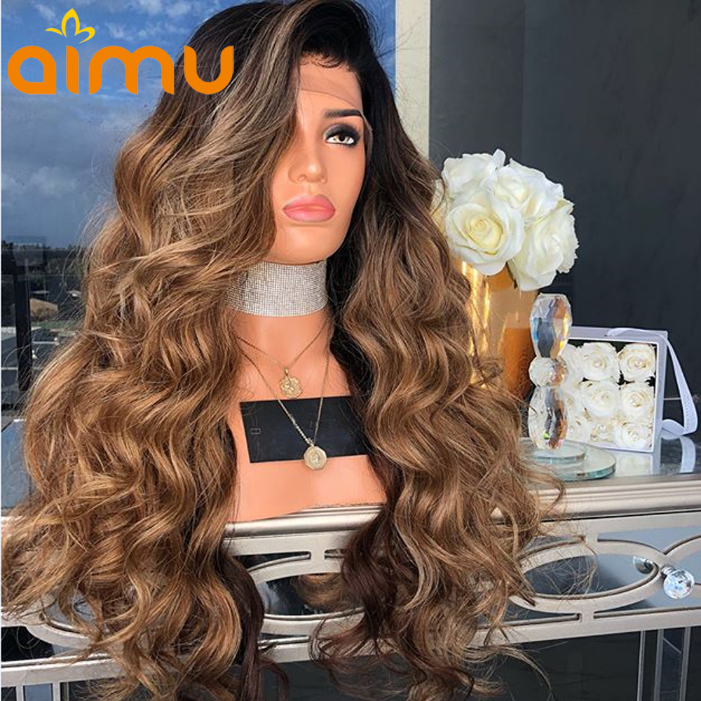13X6 Pre Plucked Honey Blonde Ombre Lace Front Wig With Baby Hair 250 Density Brazilian Remy