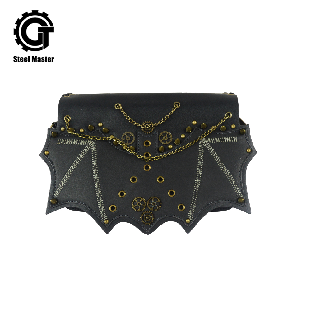 Fashion Rivets Punk Style Hot Gothic Men Women Shoulder Bag Vintage Brass Rivet Chain Bat Flap Leather Pocket Handbag Steampunk punk style solid color and rivets design women s shoulder bag