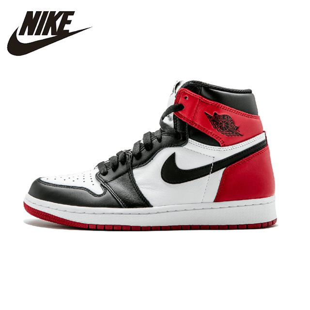 low priced a5f91 70ddd Nike Air Jordan 1 Black Toe Original Mens Basketball Shoes Breathable  Stability Sneakers For Men Shoes 555088-125