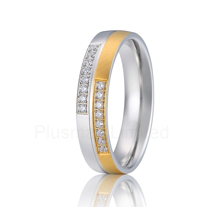 alliance anel europe quality classic bicolor gold color wedding band love ring