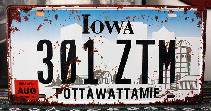 UA-CP-00233 New arrival Vintage matal tin signs car plates number  30A-ZTM IOWA  bar wall art craft home decoration 30*15 CM