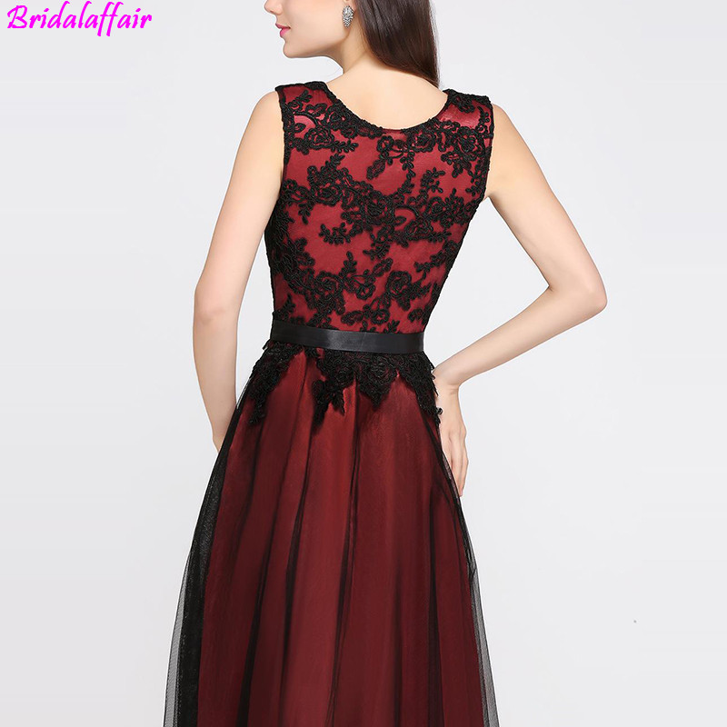 vestidos largos Hot Burgundy Simple Prom Dresses 2019 Cheapest Sleeveless A Line Black Appliqued Floor Length Evening Gowns in Prom Dresses from Weddings Events