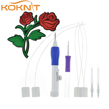 Magic Punch Embroidery Needles Women Embroidery Stitching Punch Pen Set DIY Crafts Punch Needle Sewing Accessories AC107 mixed magic embroidery stitching punch needle pen set 50pcs threads scissors needles sewing needles accessories set with case