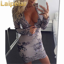 Laipelar Sexy Strapless Sequined Dress Women Fashion Long Sleeve Christmas Vintage Club Wear Bodycon Vestidos Hot