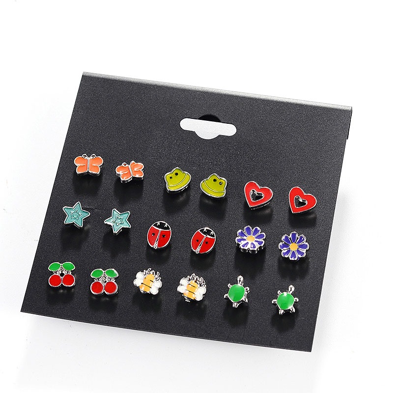 Hot Sale 9 Pairs/Set Women/Girl Simple Resin Alloy Stud Earrings Fashion Animal/Fruit/Star/Heart Cute Gift