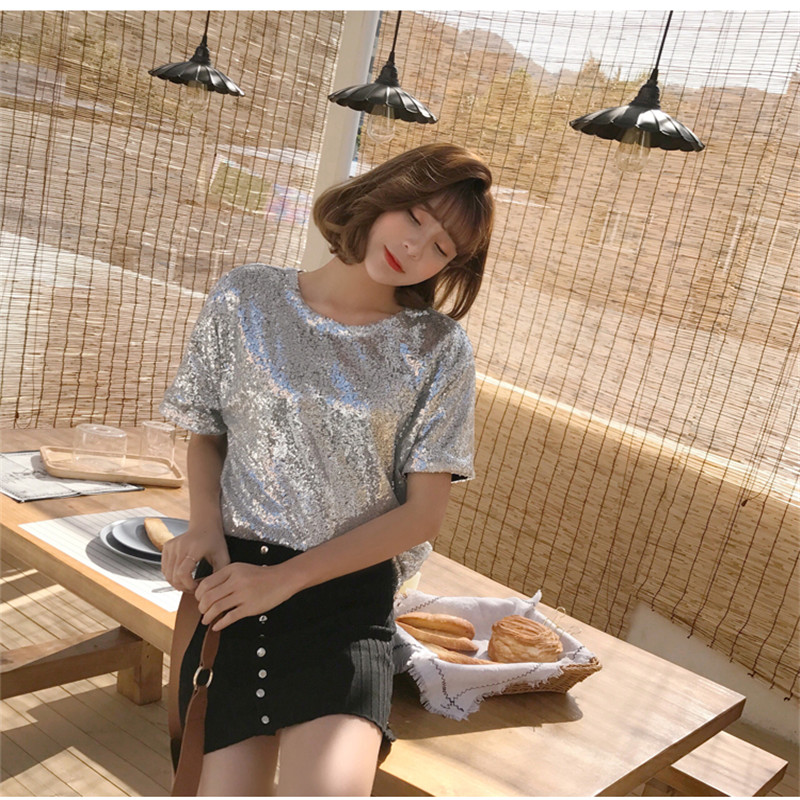 night club off shoulder Sequined t-shirt women Glistening Sequin Top women's Seductive slash neck Sequinded t shirt tees 25078