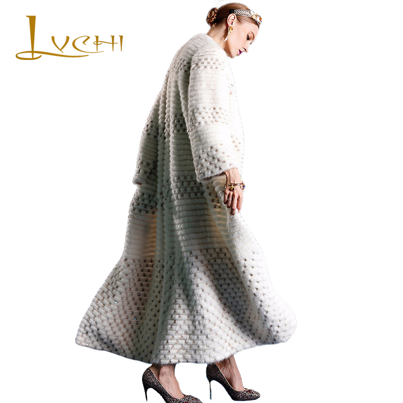 LVCHI 2019 Women elegant Fashion tunic import fur mink coats White Mink Coat  Robe Femme coat black Mink Fur Clothes saga