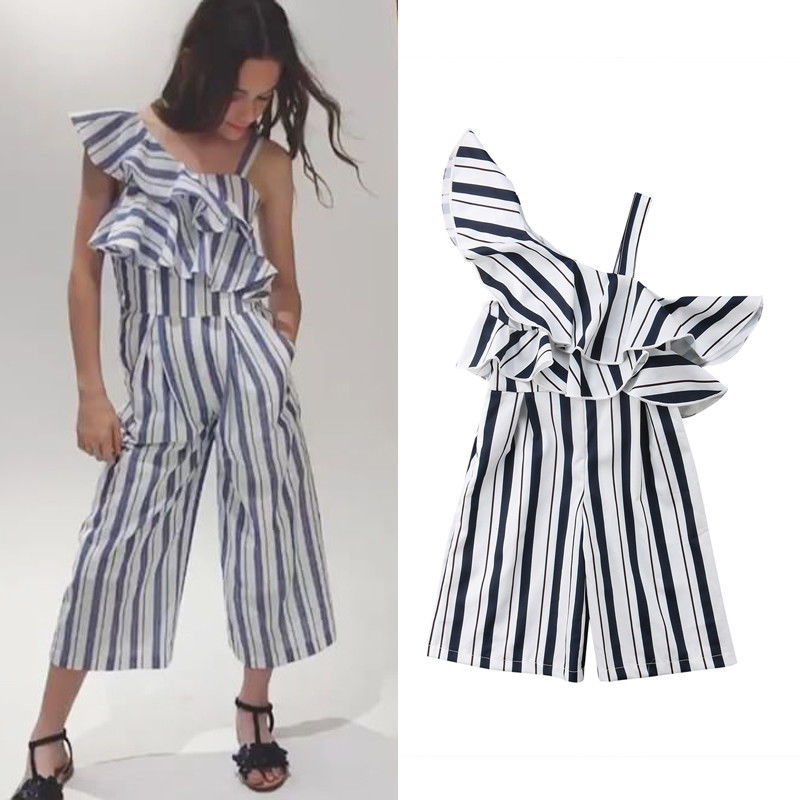 517e389a915 2018 Summer Fashion Cute Toddler Baby Girls Romper Off Shoulder Short Sleeve  Ruffles Striped Jumpsuits Romper Outfit 3 10Y-in Clothing Sets from Mother  ...