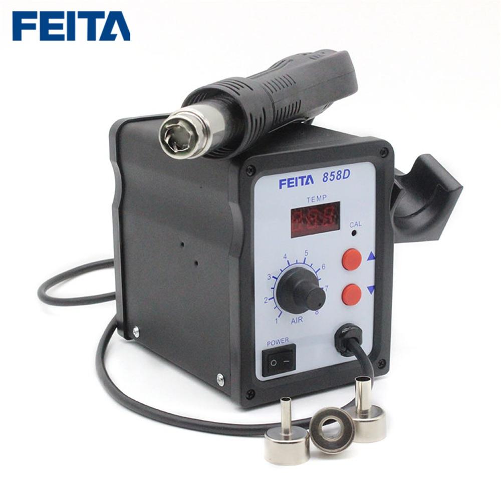 FEITA 858D пистолет горячего воздуха SMD паяльная станция с цифровым дисплеем Сварка тепловой пушкой Инструменты для ремонта с тремя насадками - 6