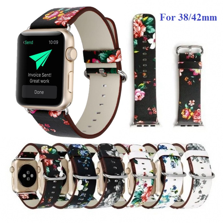women pastoral flower printing beautiful leather watch bands straps for apple watch iwatch series 1 2