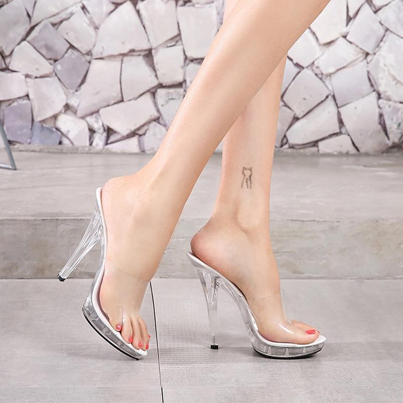 Summer 12cm High Heel Slippers Women Crystal Thin Heel Ankle Wrap Shoes Sexy Woman Transparent Antiskid Bottom Platform Sandals
