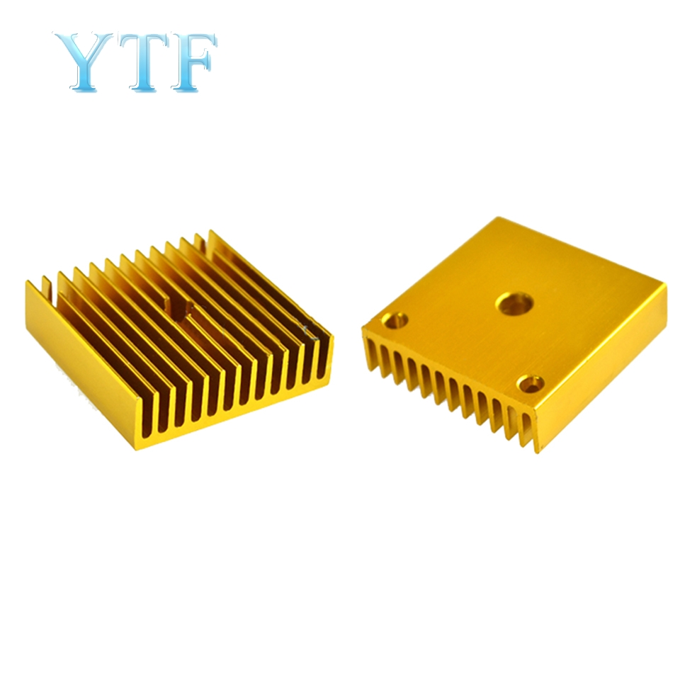Gold Heat Sink Part For MK7 MK8 Cooling Fan 3D Printers Part 40*40*11mm Aluminum Alloy Fins Golden Heatsink Heated