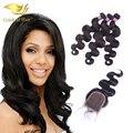 Перуанский девственные волосы с закрытием 3 или 4 пачки с кружевом закрытие 7а необработанные человеческих волос перуанский волна с закрытием