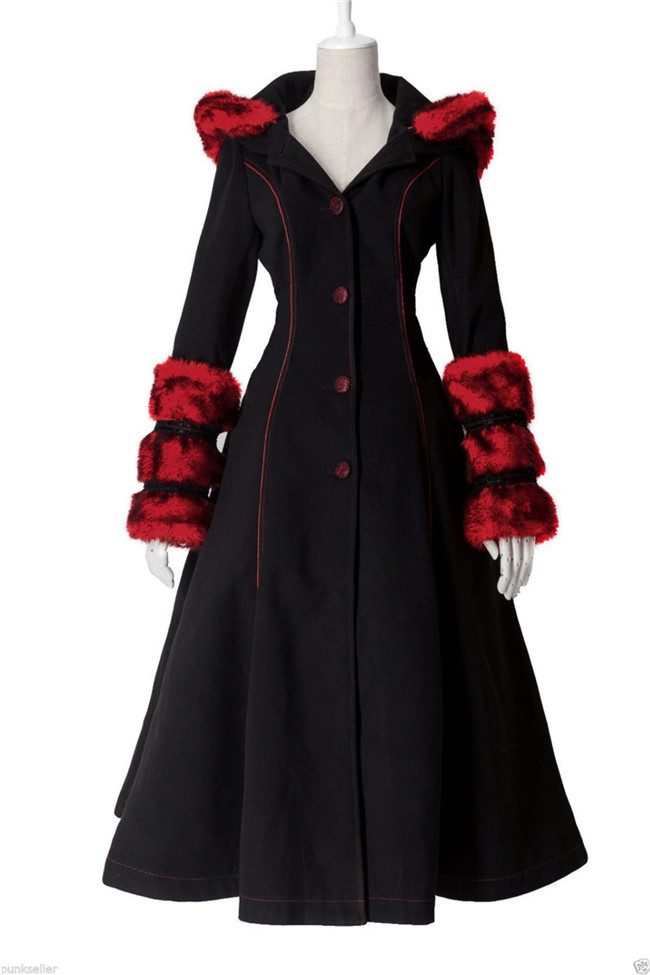 Gothic Punk Lolita Winter Womens Coat Long Dress Xmas Wool Coat Fashion Party Cosplay Anime Costume Custom-made Any Size NEW
