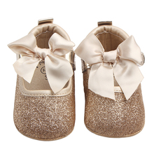 Купить с кэшбэком Shoes for Girls Mary Jane Flats Shoes Kids PU Leather Newborn Infant Toddler Crib Shoes Velcro Bow Bebe Casual Princess Footwear