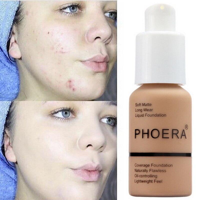 PHOERA Soft Matte Light Cream Long Lasting Liquid Face Foundation Makeup Coverage Foundation Natural Oil Control Maquiagem