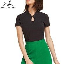 Nice-Forever Повседневное основные Однотонная одежда футболки короткий рукав с Каплевидным Вырезом женский Для женщин летние футболки топы T043